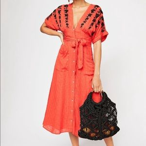 Free People love to love you embroidery midi dress